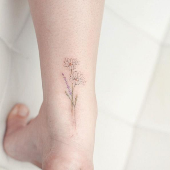 Daisy and Lavender flower by Hello Tattoo