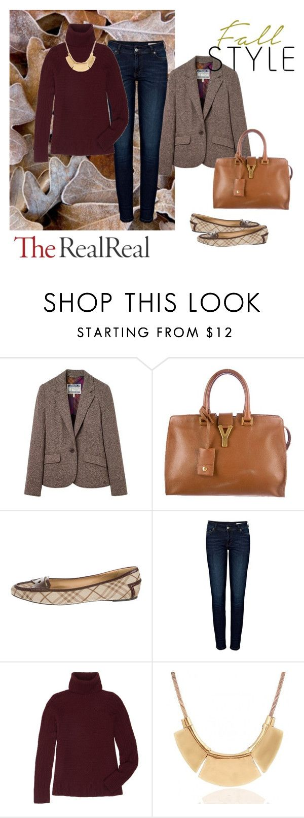"""""""Fall Style With The RealReal: Contest Entry"""" by lunkhead on Polyvore featuring Joules, Yves Saint Laurent, Burberry, Anine Bing and The Row"""