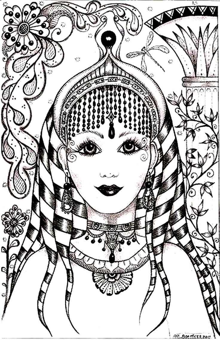 Free coloring page coloring-woman-face-india-inspiration. Face of an Indian woman
