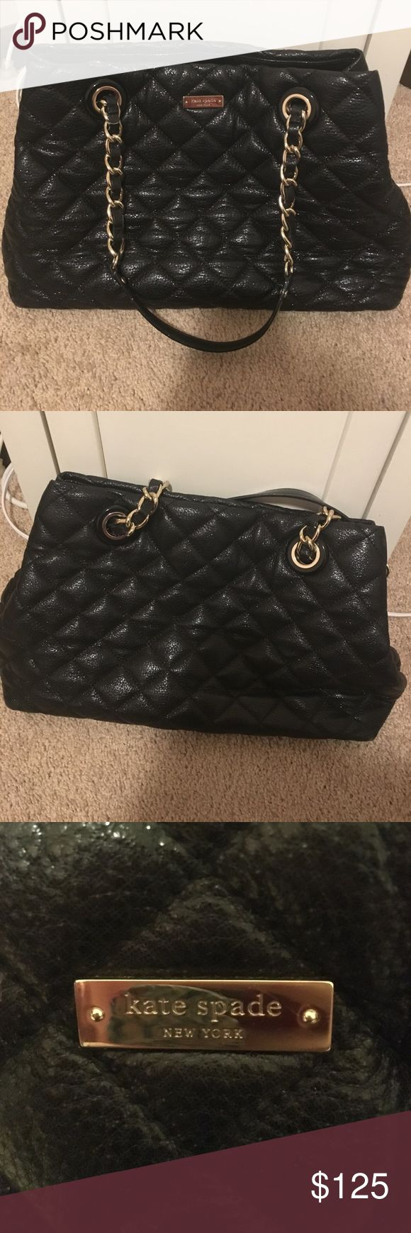 Kate Spade Gold Coast Maryanne Bag Black Kate Spade Gold Coast Maryanne bag. It is a beautiful, everyday use kind of bag that goes with any outfit. Quilted with silver accents. It has been used, and there is some staining to the inner lining on the bottom. The price will reflect that. kate spade Bags