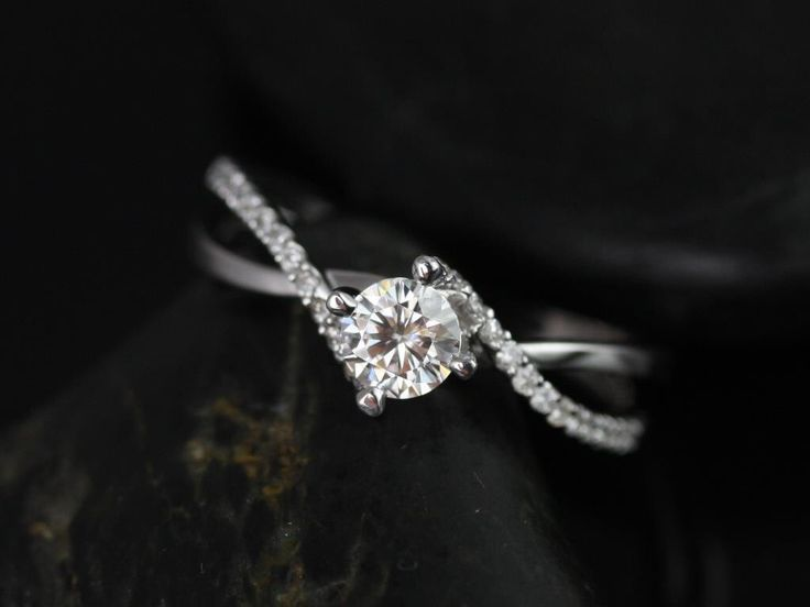 Valentina 4.5mm 14kt White Gold Round Cut Diamond Twist Engagement Ring  £1116 (Other metals and stone options available)