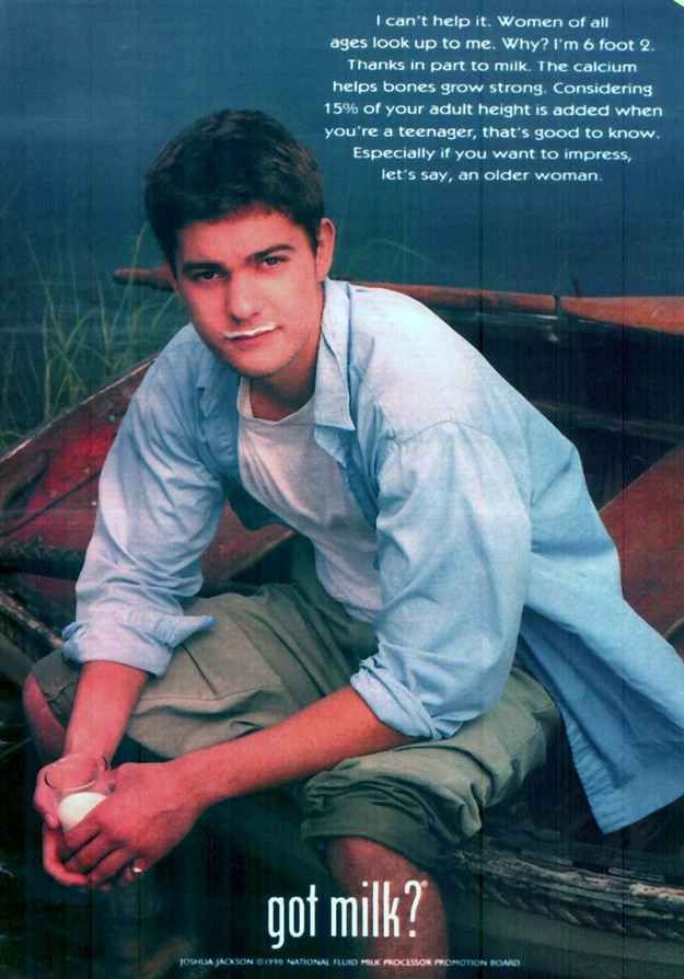"Pacey Witter (aka Joshua Jackson) | Your Favorite ""Got Milk"" Ads Growing Up (I love the Ms. Jacobs reference, haha)"