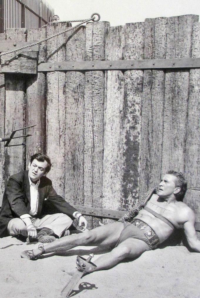Stanley Kubrick and Kirk Douglas in Spartacus (1960).