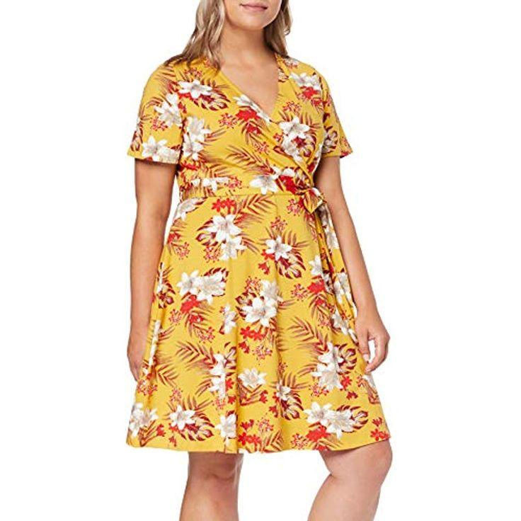 Dorothy Perkins Wrap Printed Dress Ochre Floral Vestito Elegante Donna #Abbiglia…