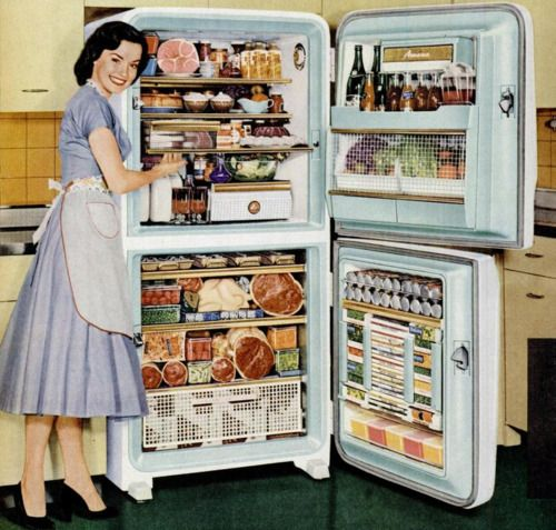 "Amana Refrigerator Advertisement 1956. Her inner dialogue, ""Keeping the fridge this full helps reduce the urge to kill my husband and hide his body in the freezer"""
