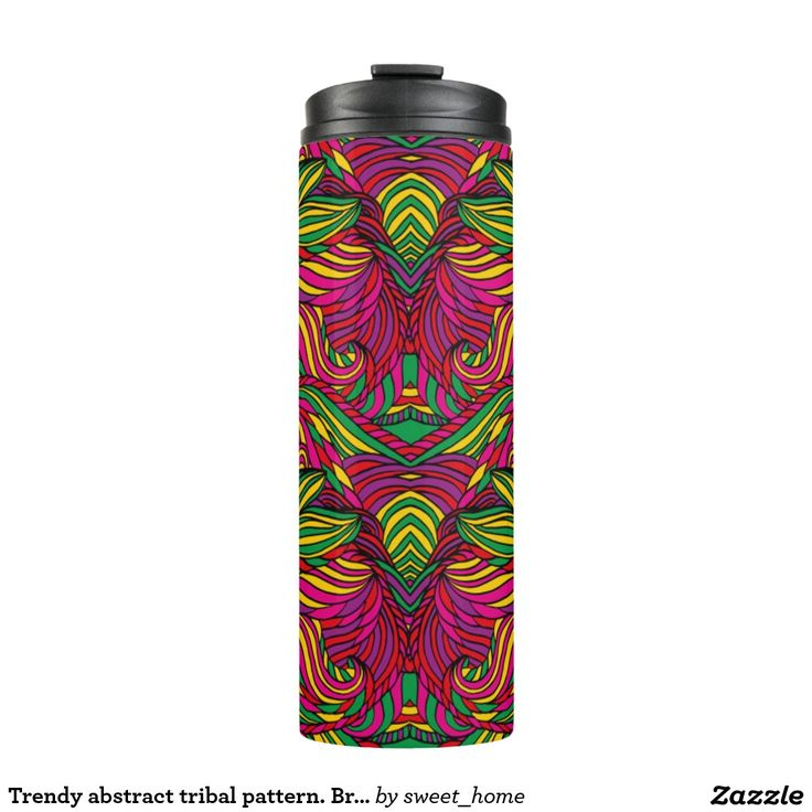 Trendy abstract tribal pattern. Brazil color. Thermal Tumbler  For home design and decor. Beautiful home accessories ideas. Brazil bright style.