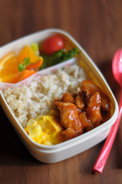 Easy bento! Fruit, rice, and some protein!