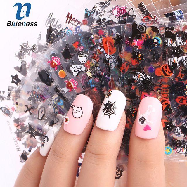 24 Feuille Halloween Conception Beauté Nail Art Ongles Autocollants Adhésif Transfert 3D Crâne Citrouille Autocollants Stickers Pour Conseils Top Qualité