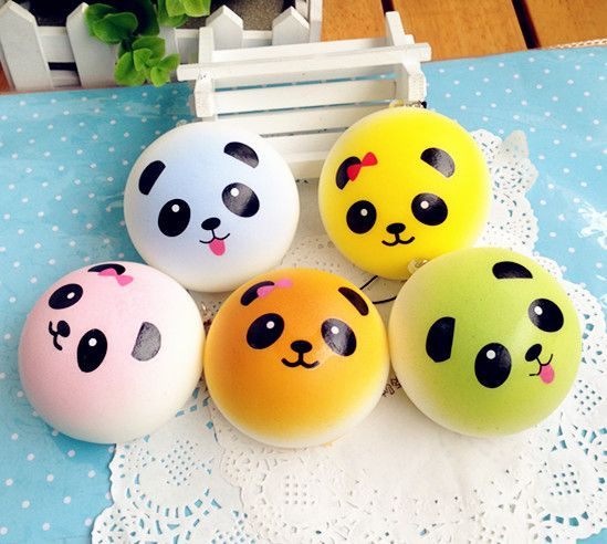 JUMBO 10 CM COLORFUL PANDA BUN SQUISHIES! EACH COMES WITH CELLPHONE STRAP!