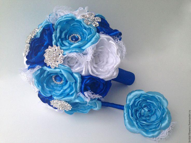 Брошь букет невесты. Синие и белые пионы в интернет-магазине на Ярмарке Мастеров.