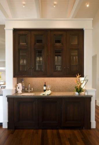 Built In Bar, Wood Cabinets