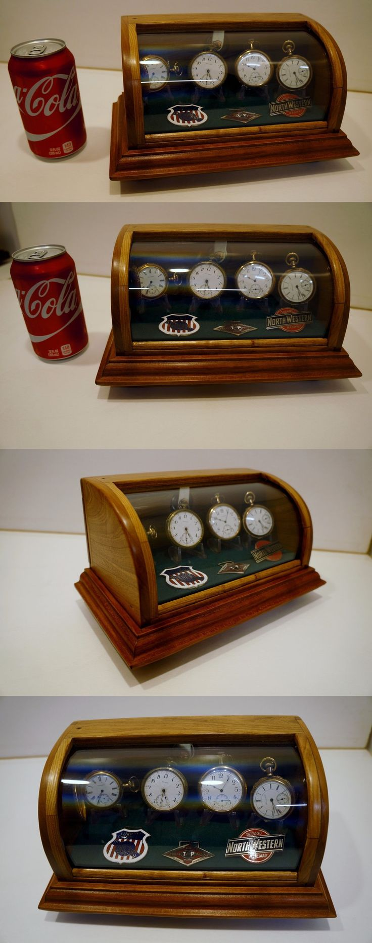 Antique 3940: Curved Glass Pocket Watch Display Case Solid Cherry...Very Small Displays 4 + -> BUY IT NOW ONLY: $150.0 on eBay!