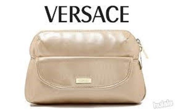 VERSACE Parfums Pink Rose Gold Make-Up Cosmetic Bag Pouch Zipper Clutch  #Versace