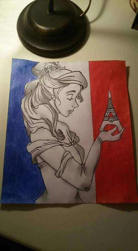 Questo disegno l'ho fatto in segno di commemorazione per le vittime dell'attentato a Parigi, per i loro familiari e per tutto il mondo,sperando che un giorno tutte queste guerre inutili non esisteranno più.   Ovviamente ho scelto Belle, perchè è la principessa Disney francese.   -La bella e la bestia.