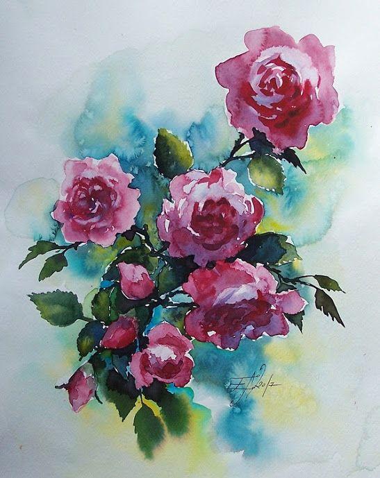Edyta Nadolska Watercolor Art - 'Alan Titchmarsh Rose'