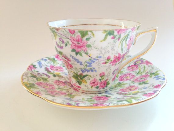 Rosina Chintz Tea Cup and Saucer, c.1950s