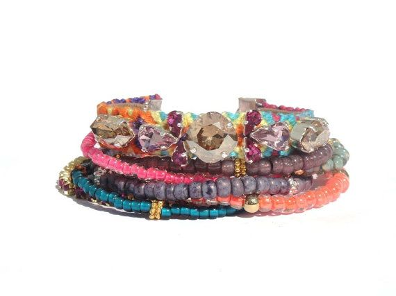 Multiple strands beaded neon bracelet - The original OOAKjewelz multiple strands gypsy bracelet DeLuxe edition - hippie jewelry - boho chic