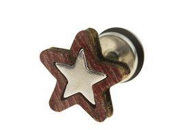 Wood star fake plug gauge stud earrings