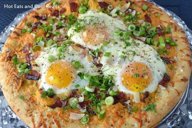 This is a unique and delicious breakfast or holiday brunch recipe! Plus, who doesn't love pizza anytime of day? Bacon & Asparagus Breakfast Pizza Recipe from Hot Eats and Cool Reads: