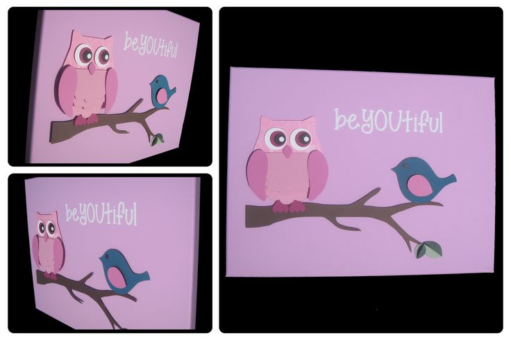 3D Nursery Art - Owl and Bird on a Branch with Leaves - beYOUtiful