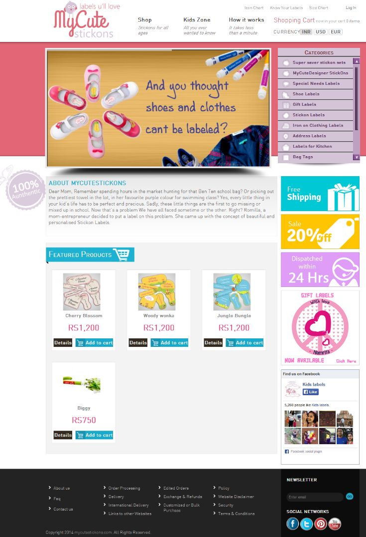 MyCuteStickons is concept based eCommerce web portal selling beautiful and personalized Stickon Labels. Stickon Labels are cute and tough and come in a variety of categories.   We develop this website using Wordpress CMS with WooCommerce plugin integration for eCommerce functionality. User can view product prices in multiple currencies namely Dollars, Euro and Rupees. We have integrated EBS Payment Gateway for carrying online transactions. #wordpress #woocommerce #paymentgateway #ebs