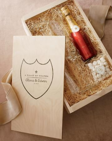 Goody box favors for two with a Champagne split and candies