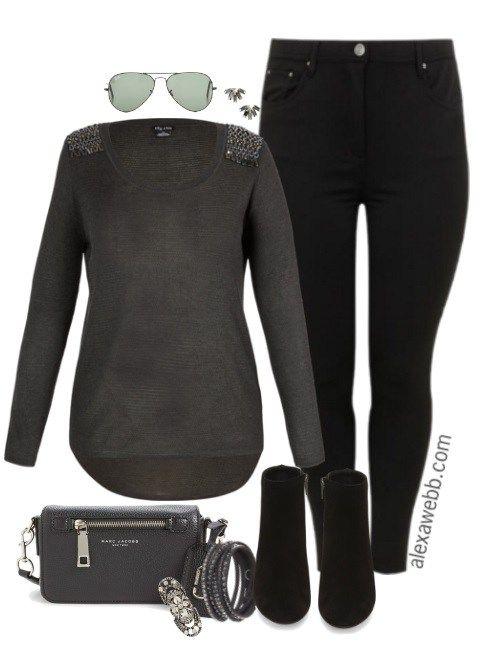Plus Size Charcoal Sweater Outfit - Plus Size Fashion for Women - alexawebb.com #alexawebb