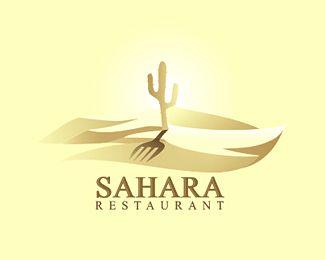Sáhara logotipo del restaurante de diseño