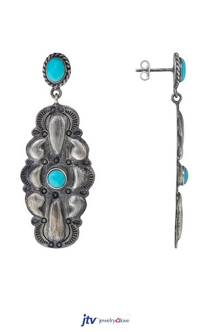 Southwest Style Oval And Round Cabochon Turquoise Sterling Silver Dangle  Earrings