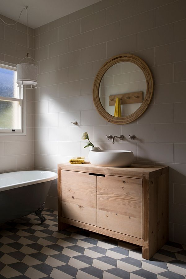 Bathroom love Gorgeous oakey woods and simple tiles. Scandinavian style and stand alone bath! Scandinavian decor| bathroom tiles|