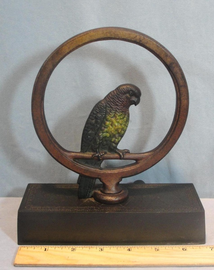 Antique Bradley & Hubbard *Parrot on Ring* Cast Iron Painted Doorstop *NR* - 43 Best Antique Cast Iron Doorstops <3 Images On Pinterest Irons