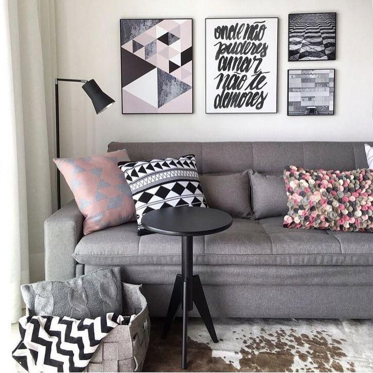 Grey Grey And Grey amooooo ! Projeto Carol Miluzzi e almofadas @tricodecor  ARCHITECTURE | INTERIORS | LIVINGROOM