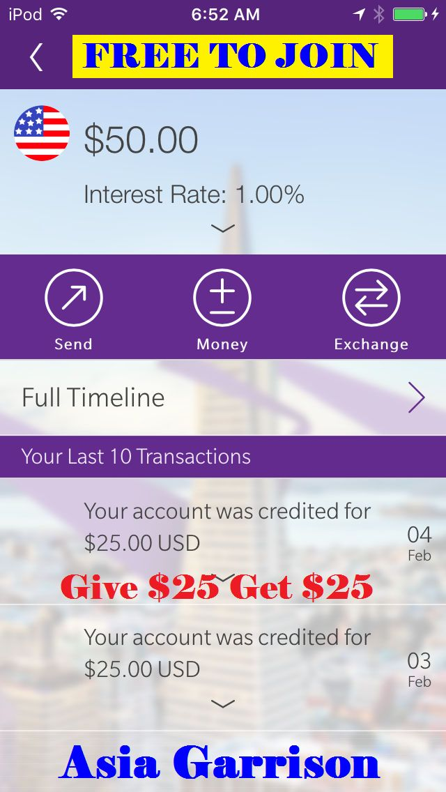 ♣ 100% #FREE♣ $25 Sign Up Bonus via INVITE ONLY♣ $25 per referral♣ Paid via Bank Acct.♣ DISCLAIMER: If you DON'T sign up using my link then you will NOT receive a $25 bonus♣ You need a bank acct.♣ You need to verify the 2 small deposits they send to your bank in 2-3 business days♣ You also need to make sure you take a LIVE photo (not an old pic on your phone) of your ID that is clear and not blury♣ ONLY available in USA & Canada♣