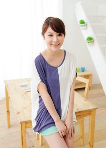 Korean Style Patchwork Design Cotton Purple & White Batwing T-shirt on sale only US$7.43 now, buy cheap Korean Style Patchwork Design Cotton Purple & White Batwing T-shirt at martofchina.com