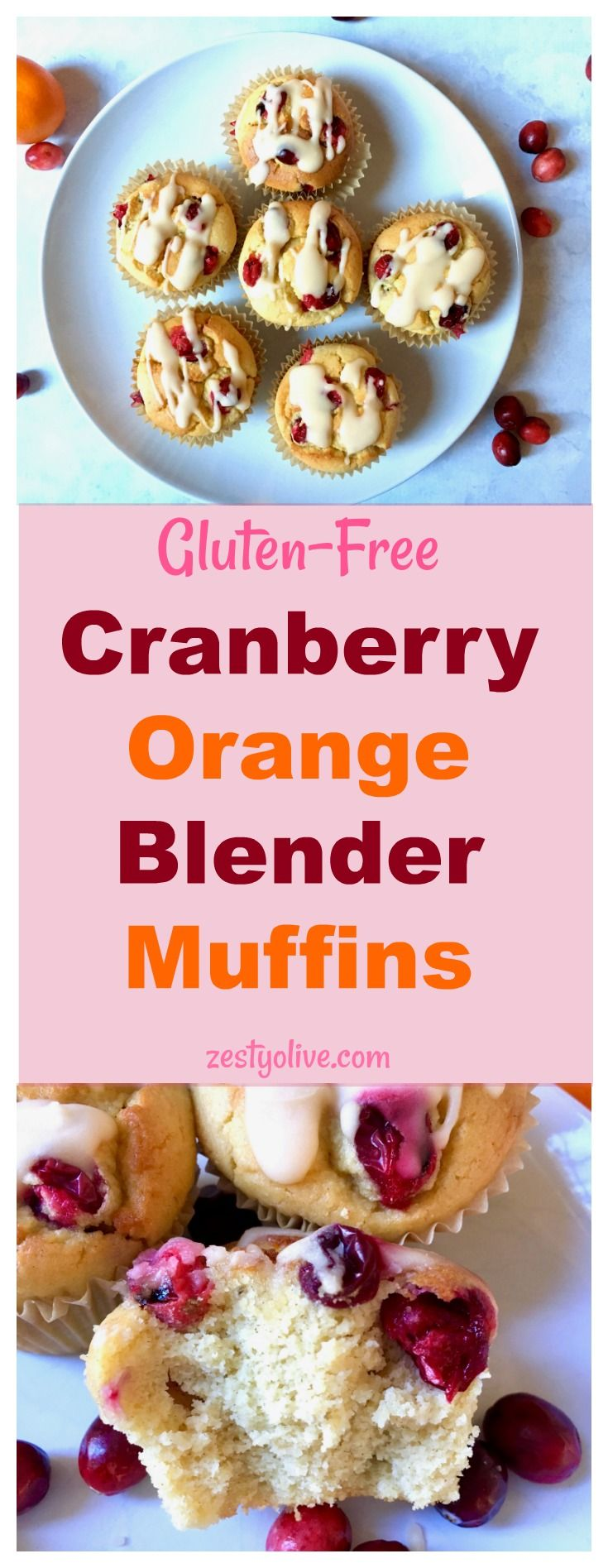 Gluten-Free Cranberry Orange Blender Muffins are an easy and healthy breakfast option or a delicious afternoon snack.