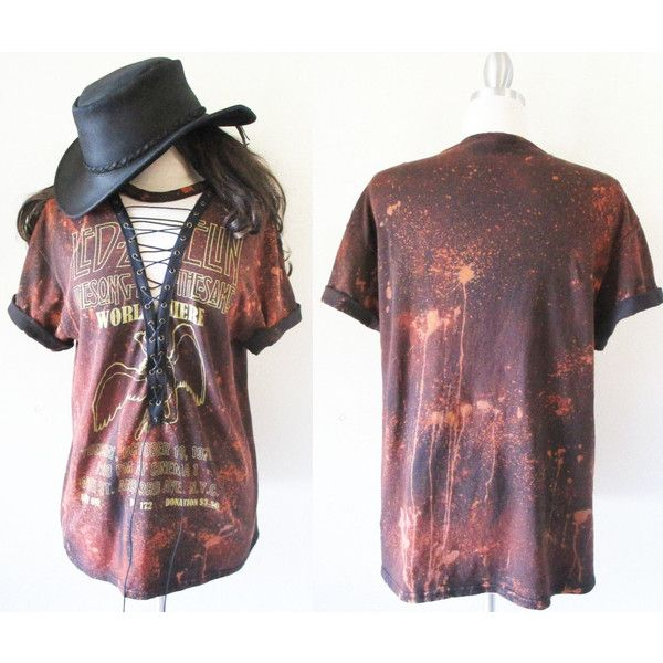 Led zeppelin deep v lace up tops starry sky bleached s xl t shirt top