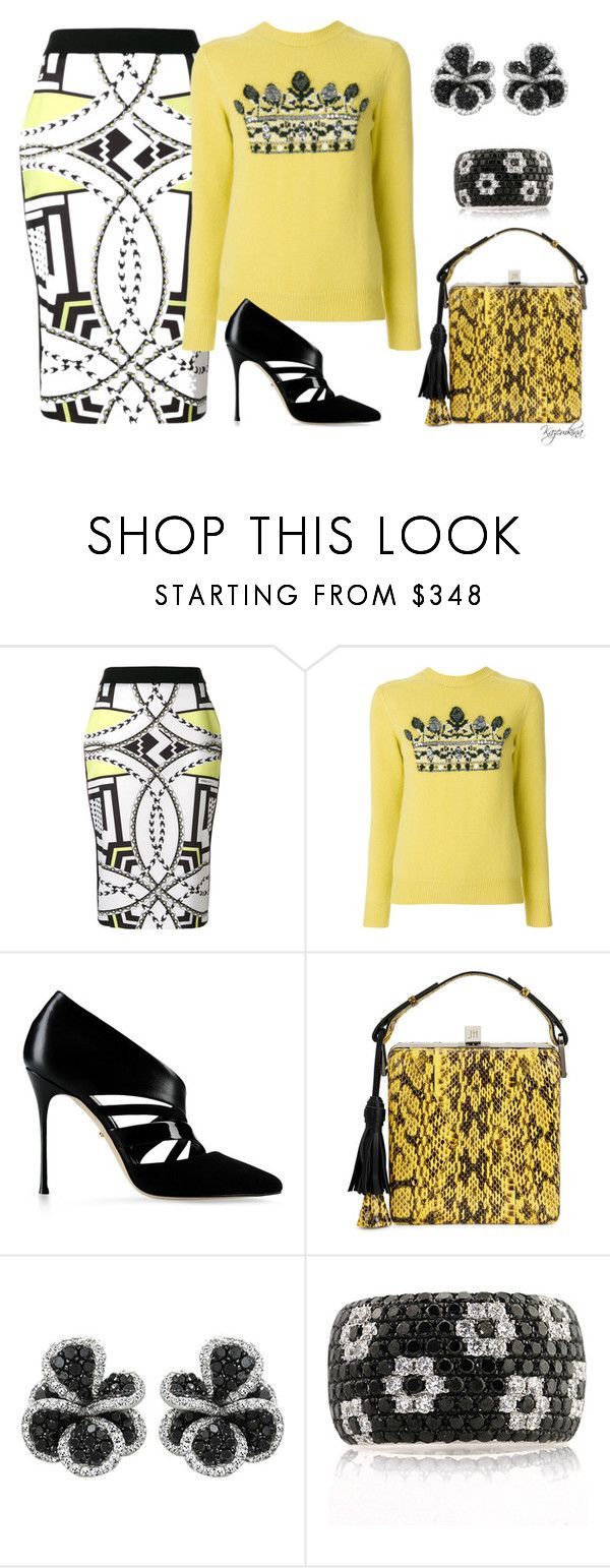 """Abstract Pattern Skirt"" by kazemkina ❤ liked on Polyvore featuring Versace, Sergio Rossi, Jill Haber, Effy Jewelry and Mark Broumand"