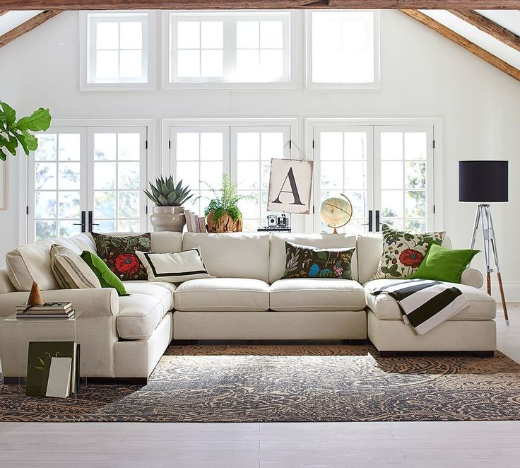 Townsend Upholstered 4-Piece Sectional With Chaise | Pottery Barn                                                                                                                                                     More