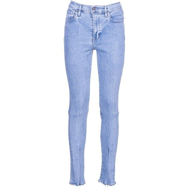 : Made & Crafted Zip Cuff Skinny Jeans ($190) ❤ liked on Polyvore featuring jeans, light blue, womenclothingjeans, zip jeans, skinny jeans, light blue denim jeans, zipper cuff jeans and blue jeans