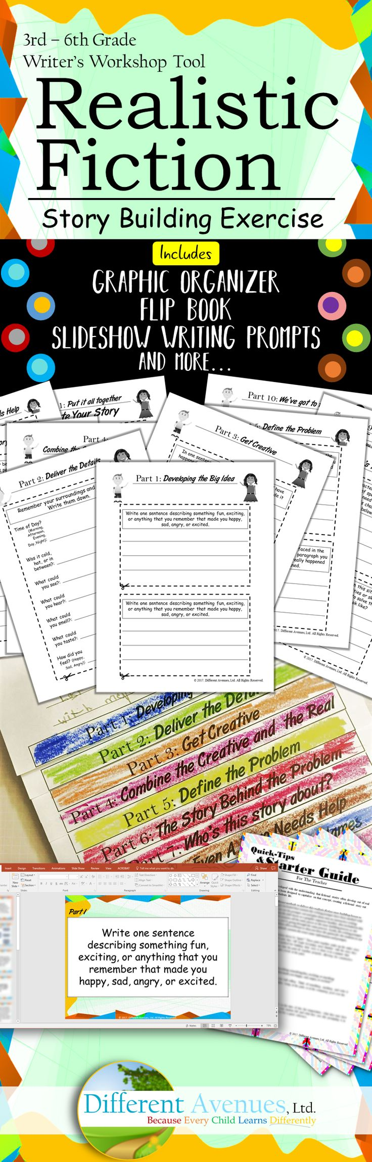 This Realistic Fiction Story building pack with Graphic Organizer, Flip Book, and Writing Prompts for 3rd - 6th Grade Writing Curriculum will get your students writing like a pro!!