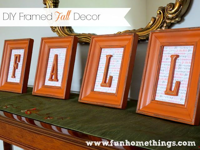 Cute fall craft--DIY framed fall decor - would be better with an autumn type scrapbook paper