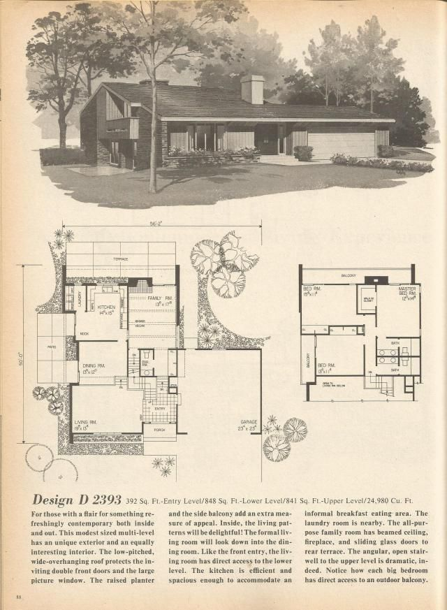 The house plans are from home planners 180 multi level for Multi level home designs