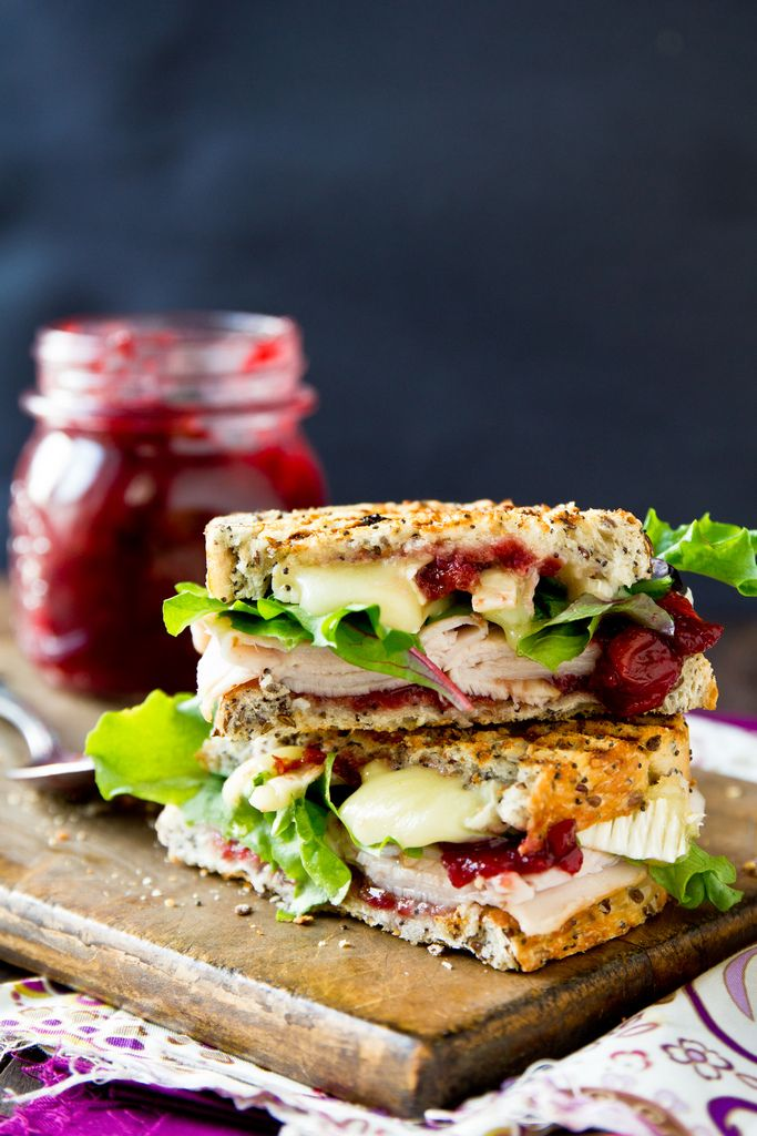 Grilled turkey & brie sandwich with cranberry/apricot sauce. I think any homemade cranberry sauce would be good. / kj