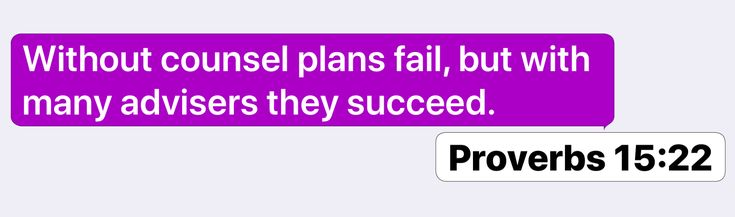 Proverbs 15:22: Without counsel plans fail, but with many advisers they succeed.