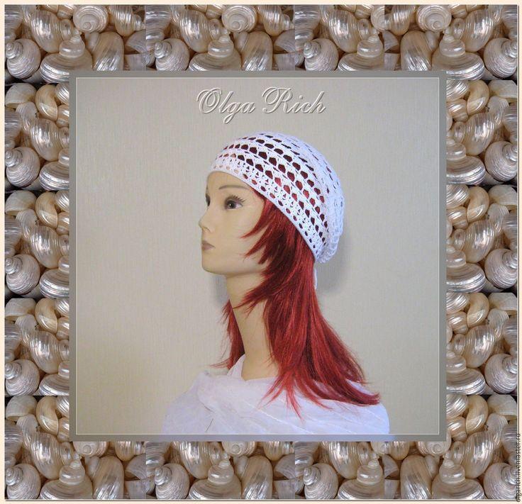 """Купить Шапочка """"Валери"""" - в полоску, панама крючком, модная шапочка, ажурная шапочка, летняя шапочка"""