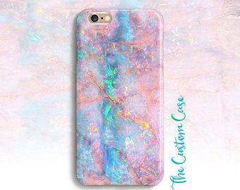 Teléfono de ópalo rosa piedra de ópalo de color de rosa y turquesa suave, caso de teléfono teléfono de piedra Pastel, caso holográfica, caso, caso Aqua y rosado, piedras preciosas