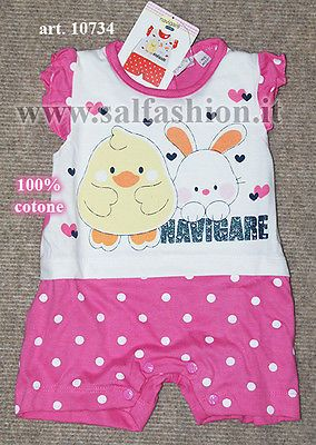 Tutina pagliaccetto neonata 100% cotone NAVIGARE art. 100734
