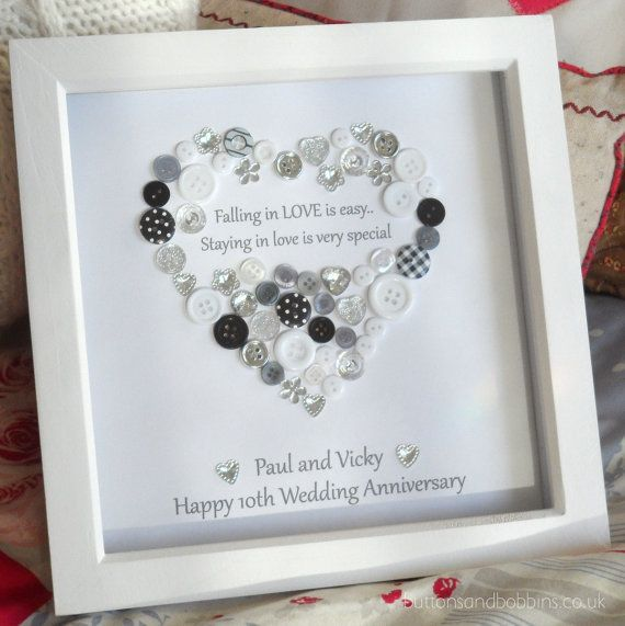 Wedding Anniversary Button Picture Engagement Gift Personalised Silver Ruby Diamond Golden Pearl Wedding Gift Frame With Images Diy Wedding Presents Picture Gifts Pearl Anniversary Gifts