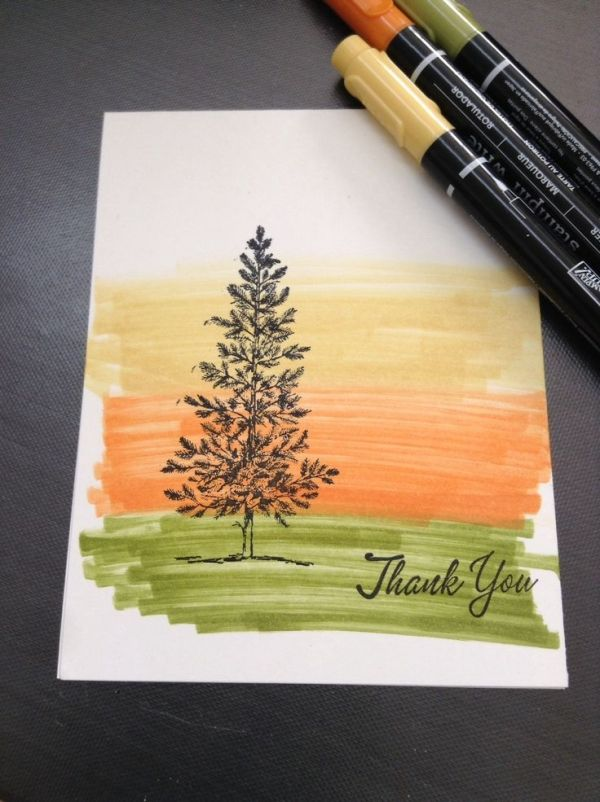 Simple marker background, Lovely as a Tree stamp from Stampin'Up!--would also be great to use with Work of Art stamp as background
