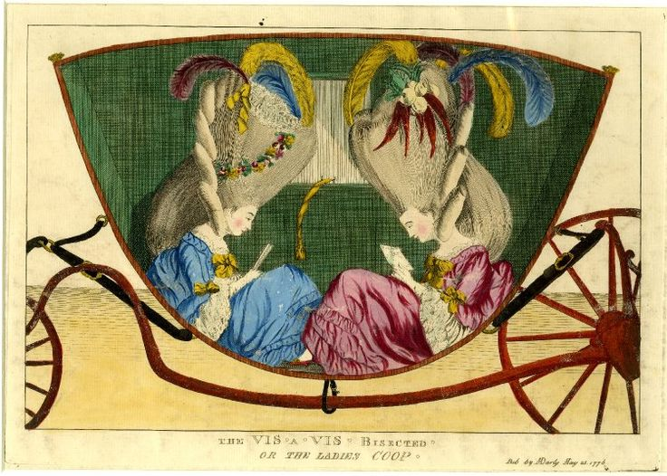 Satire on fashion, with two young ladies forced to squeeze into a carriage by their huge coiffures: for a full account see BMSat.  25 May 1776 Engraving with hand-colouring